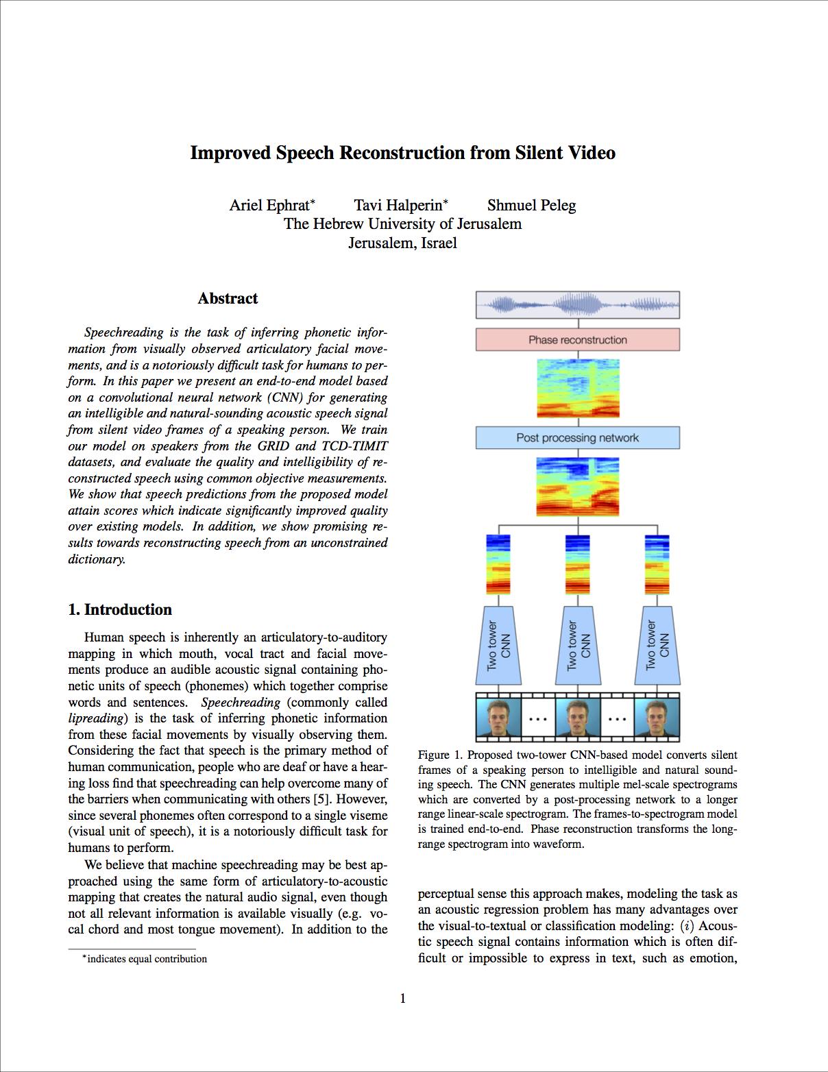 Vid2Speech: Speech Reconstruction from Silent Video